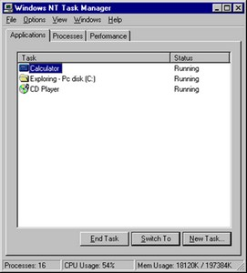 Windows NT 4.0 Task Manager with buttons: End Task, Switch To, New Task; and 3 tabs: Applications, Processes, and Performance