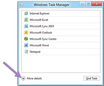 "Windows Task Manager in Windows 8 in default view, with arrow indicating button to show ""More details""."